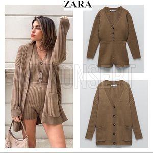 Zara 2-Piece Knit Jumpsuit and Cardigan